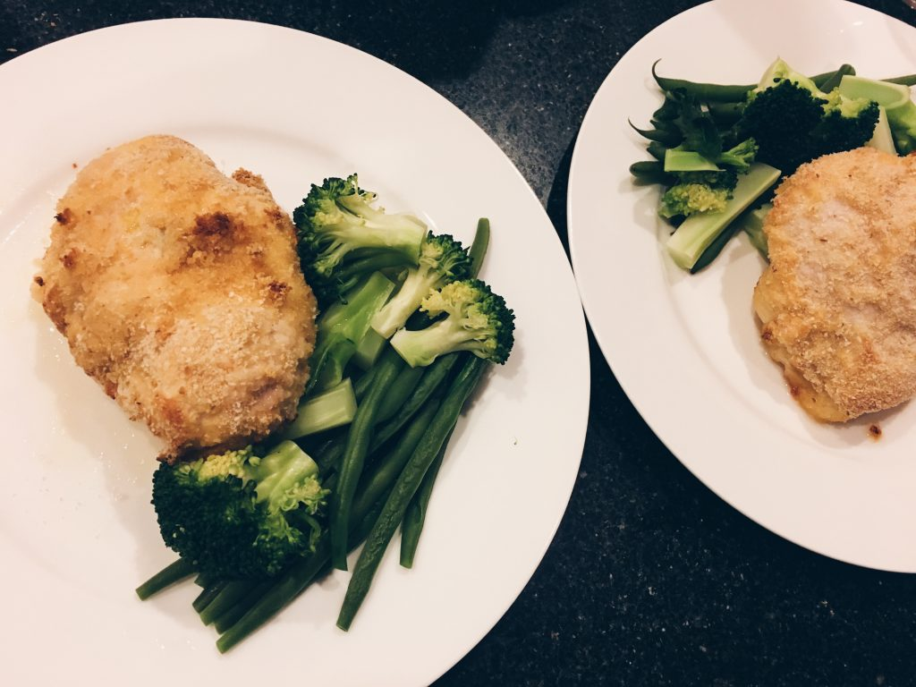 Chicken Kiev with Steamed Greens