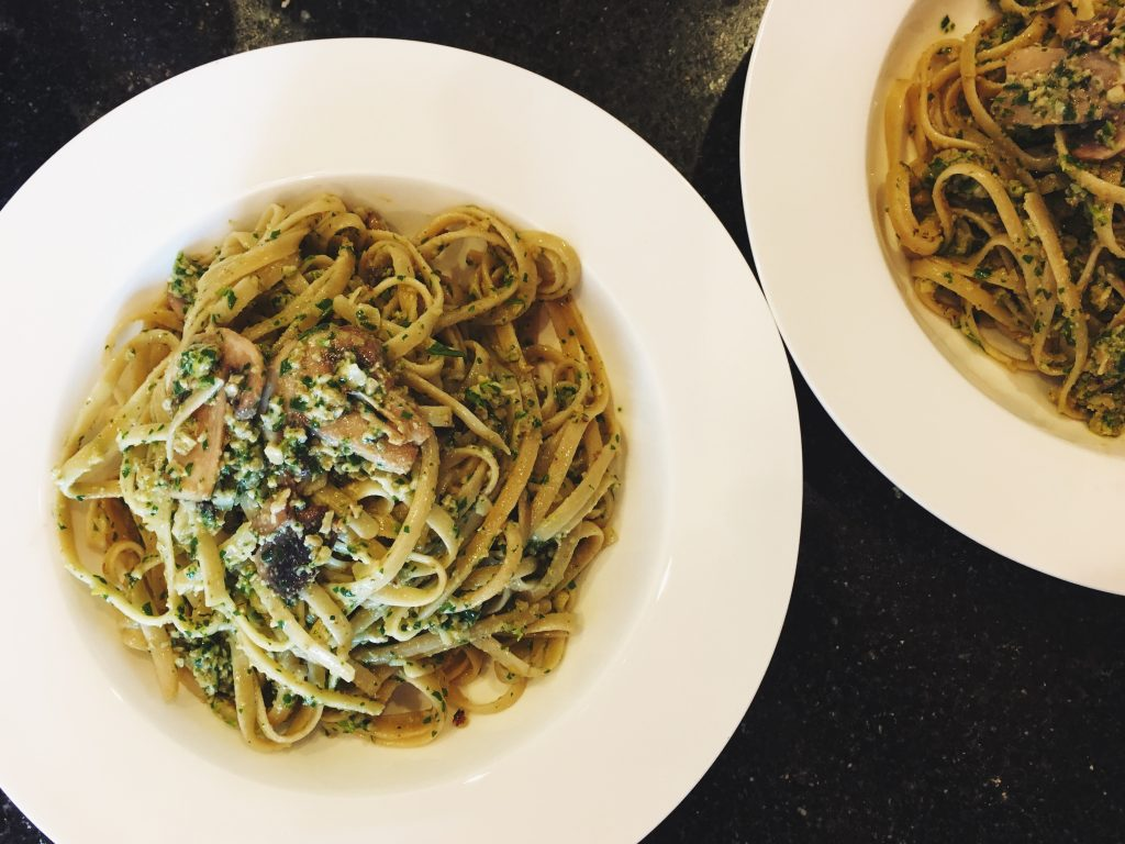 Walnut Pesto, Mushroom & Rocket Linguine