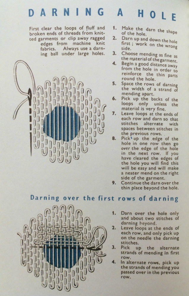 Darning instructions